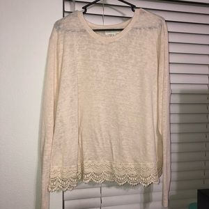Cream Top With Lace Trim